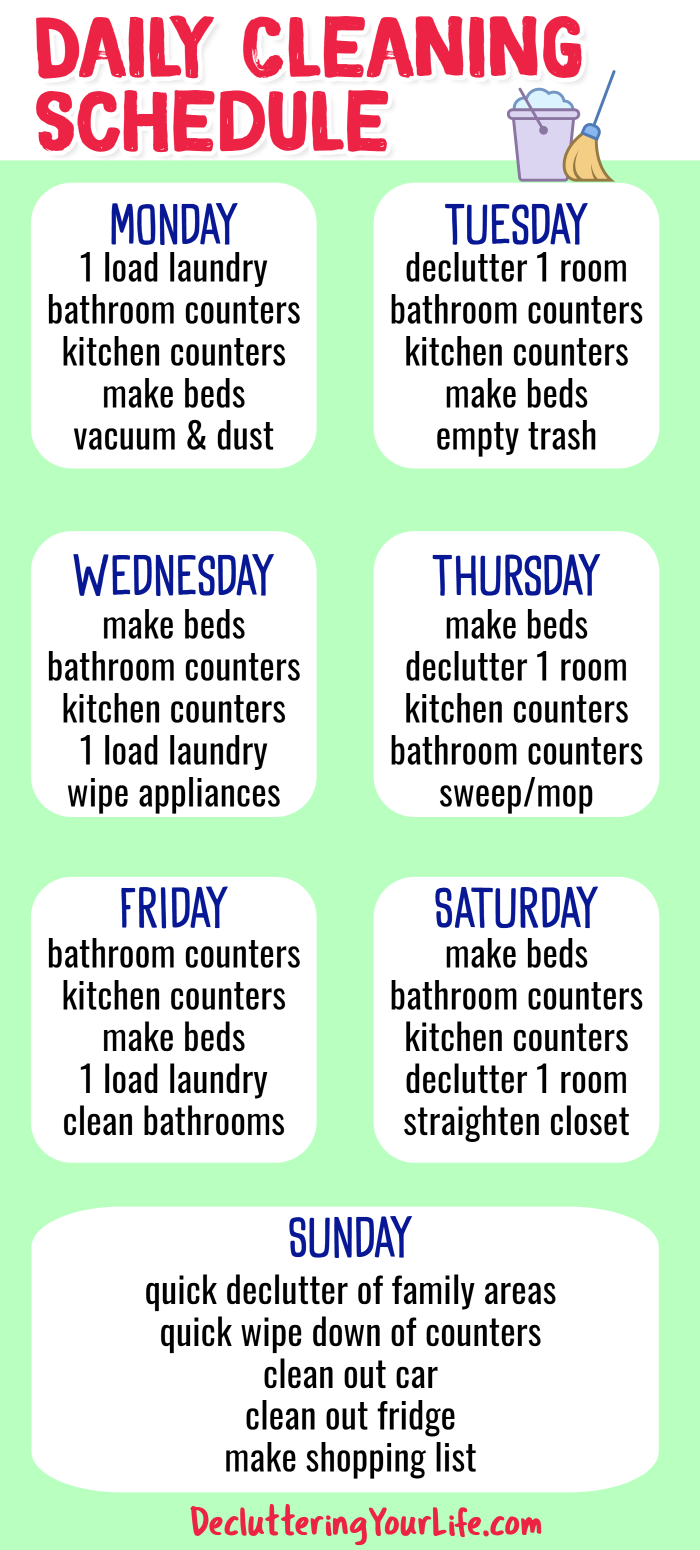 Cleaning Schedules and Checklists - Daily cleaning schedule for weekly housekeeping chores from Decluttering Your Life