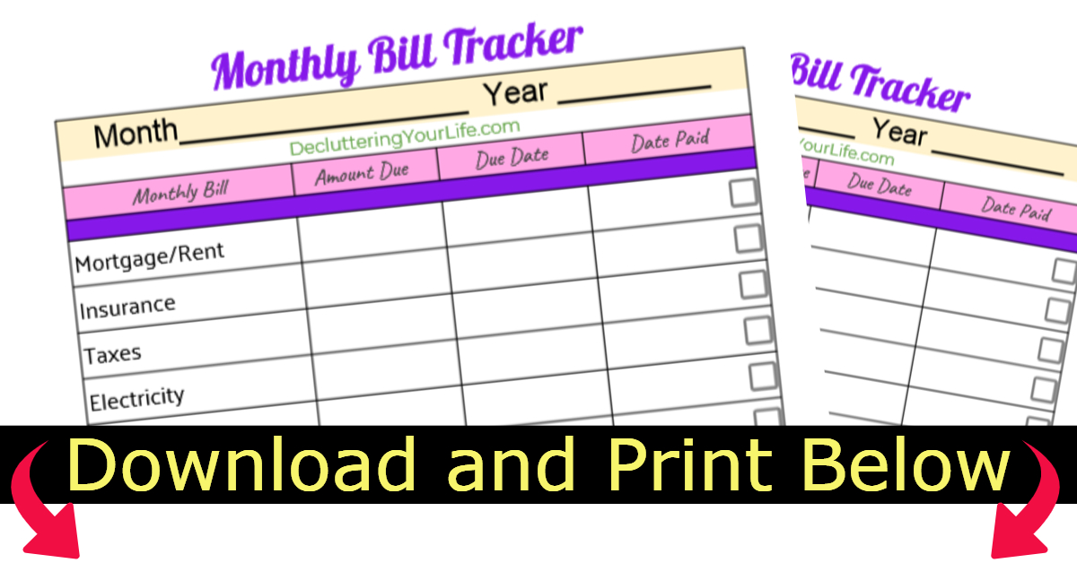 Free printable monthly bill organizer sheets